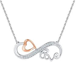 1/20 CTW Womens Round Diamond Heart Love Infinity Necklace 10kt Two-tone Gold - REF-29V4Y