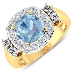 Natural 2.43 CTW Aquamarine & Diamond Ring 14K Yellow Gold - REF-96N3R
