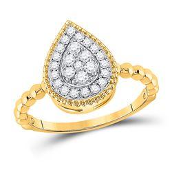 1/3 CTW Womens Round Diamond Teardrop Cluster Ring 10kt Yellow Gold - REF-36T2V
