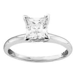 3/4 CTW Womens Princess Diamond Solitaire Bridal Wedding Engagement Ring 14kt White Gold - REF-165Y5