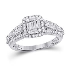 7/8 CTW Womens Round Diamond Square Cluster Ring 14kt White Gold - REF-95H5R