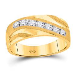 1/2 CTW Mens Round Diamond Single Row Wedding Band Ring 10kt Yellow Gold - REF-73F5W