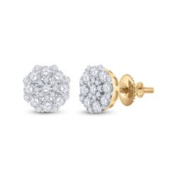 7/8 CTW Womens Round Diamond Cluster Earrings 14kt Yellow Gold - REF-68F2W
