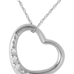 Genuine 0.03 ctw Diamond Anniversary Necklace 14KT White Gold - REF-37X4M