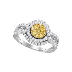 1 CTW Round Yellow Diamond Cluster Bridal Wedding Engagement Ring 14kt White Gold - REF-117N8A