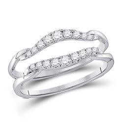 1/3 CTW Womens Round Diamond Wrap Ring 14kt White Gold - REF-48R5X