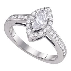 1 CTW Marquise Diamond Solitaire Bridal Wedding Engagement Ring 14kt White Gold - REF-215F4W
