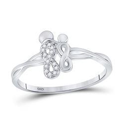0.03 CTW Womens Round Diamond Double Infinity Ring 10kt White Gold - REF-11F6W
