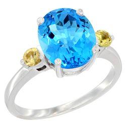 2.64 CTW Swiss Blue Topaz & Yellow Sapphire Ring 14K White Gold - REF-32K3W