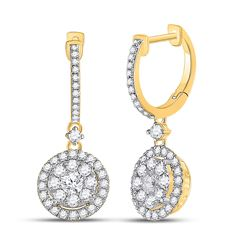 1 CTW Womens Round Diamond Circle Cluster Dangle Earrings 14kt Yellow Gold - REF-88F5W
