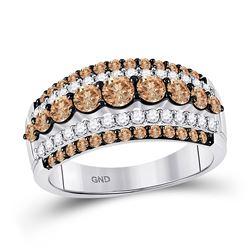 1 & 1/2 CTW Womens Round Brown Diamond Fancy Cocktail Ring 10kt White Gold - REF-90F5W