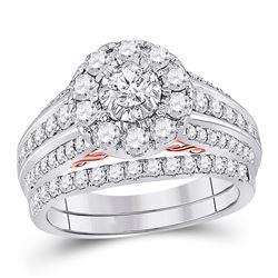1 & 1/2 CTW Round Diamond Bridal Wedding Ring 14kt Two-tone Gold - REF-170M5F