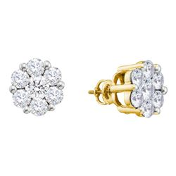 1 & 1/2 CTW Womens Round Diamond Large Flower Cluster Stud Earrings 14kt Yellow Gold - REF-160V4Y