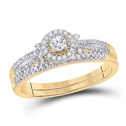 1/3 CTW Round Diamond Bridal Wedding Ring 10kt Yellow Gold - REF-45T2V