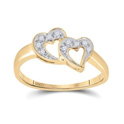 1/20 CTW Womens Round Diamond Double Heart Ring 10kt Yellow Gold - REF-18M5F