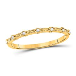 1/20 CTW Womens Round Diamond Milgrain Stackable Band Ring 10kt Yellow Gold - REF-13T5V