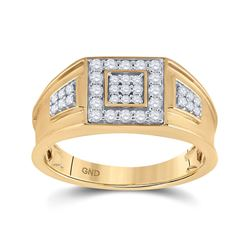 1/2 CTW Mens Round Diamond Square Cluster Band Ring 14k Yellow Gold - REF-94R6X
