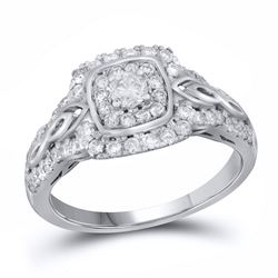 3/4 CTW Round Diamond Solitaire Bridal Wedding Engagement Ring 14kt White Gold - REF-76H9R