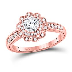 1 CTW Round Diamond Solitaire Bridal Wedding Engagement Ring 14kt Rose Gold - REF-313A5M