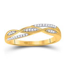 1/12 CTW Womens Round Diamond Twist Band Ring 10kt Yellow Gold - REF-12W2H