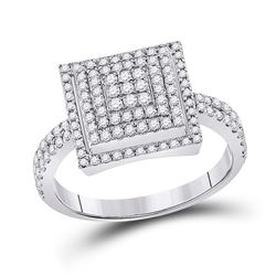 1/2 CTW Womens Round Diamond Square Cluster Ring 10kt White Gold - REF-28V5Y