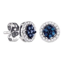 1/4 CTW Womens Round Blue Color Enhanced Diamond Cluster Stud Earrings 14k White Gold - REF-20N5A