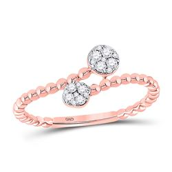 1/8 CTW Womens Round Diamond Bypass Stackable Band Ring 10kt Rose Gold - REF-18T5V