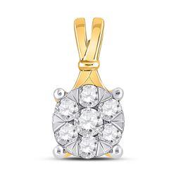 1/3 CTW Womens Round Diamond Flower Cluster Pendant 14kt Yellow Gold - REF-31V4Y