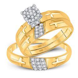 1/4 CTW His Hers Round Diamond Cross Matching Wedding Set 10kt Yellow Gold - REF-34X8T