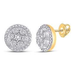 0.01 CTW Womens Round Diamond Illusion Cluster Earrings 10kt Yellow Gold - REF-16R4X