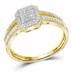 1/6 CTW Womens Round Diamond Square Cluster Ring 10kt Yellow Gold - REF-20N5A
