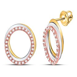 1/5 CTW Womens Round Diamond Oval Stud Earrings 10kt Tri-Tone Gold - REF-25X9T