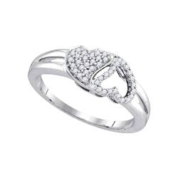 1/5 CTW Womens Round Diamond Double Heart Ring 10kt White Gold - REF-23M9F