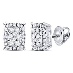1/4 CTW Womens Round Diamond Rectangle Cluster Earrings 14kt White Gold - REF-28N5A
