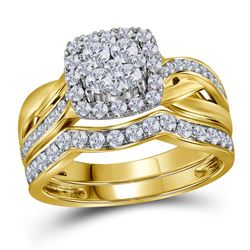 1 CTW Round Diamond Cluster Bridal Wedding Ring 14kt Yellow Gold - REF-105V7Y