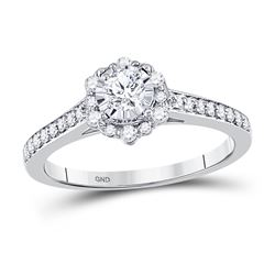 1/2 CTW Round Diamond Solitaire Bridal Wedding Engagement Ring 14kt White Gold - REF-61R4X