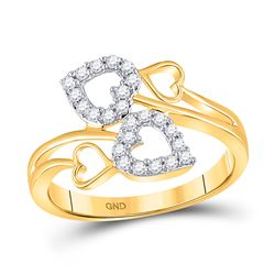 1/4 CTW Womens Round Diamond Double Heart Ring 10kt Yellow Gold - REF-29Y4N