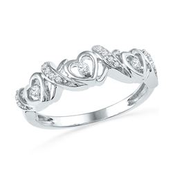 1/8 CTW Womens Round Diamond Heart Band Ring 10kt White Gold - REF-23H9R