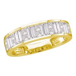 1 CTW Womens Baguette & Princess Diamond Wedding Anniversary Band Ring 14kt Yellow Gold - REF-112W5H