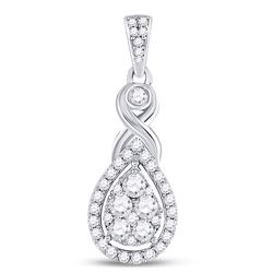 1/2 CTW Womens Round Diamond Cluster Pendant 10kt White Gold - REF-45H2R