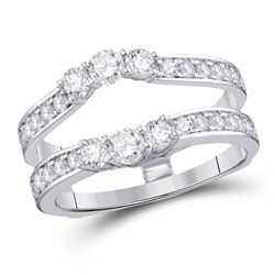 1 CTW Womens Round Diamond Wrap Ring 14kt White Gold - REF-115H9R