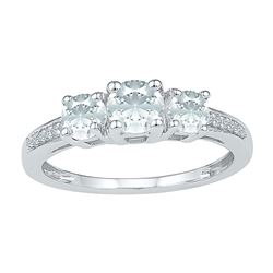1 & 3/8 CTW Womens Round Lab-Created White Sapphire 3-stone Ring 10kt White Gold - REF-19Y6N