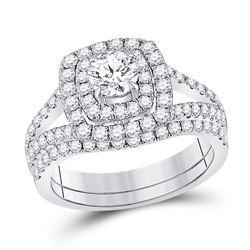 1 & 5/8 CTW Round Diamond Bridal Wedding Ring 14kt White Gold - REF-231W7H