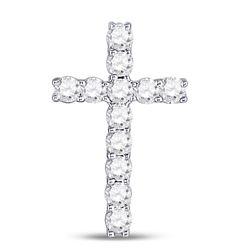 1/5 CTW Womens Round Diamond Religious Cross Pendant 10kt White Gold - REF-12T2V