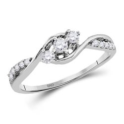1/5 CTW Womens Round Diamond 3-stone Promise Ring 10kt White Gold - REF-21Y8N