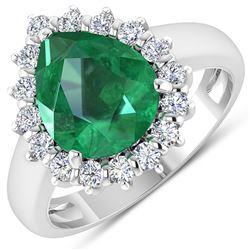 Natural 3.33 CTW Zambian Emerald & Diamond Ring 14K White Gold - REF-141M7T