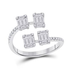 5/8 CTW Womens Baguette Diamond Bisected Fashion Ring 14kt White Gold - REF-70X8T