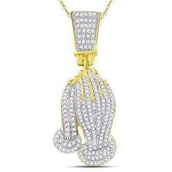 3/8 CTW Mens Round Diamond Praying Hands Faith Charm Pendant 10kt Yellow Gold - REF-36W7H