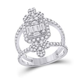1 & 1/2 CTW Womens Round Diamond Negative Space Cluster Fashion Ring 14kt White Gold - REF-143F2W