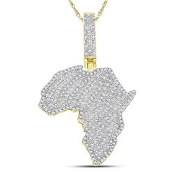 5/8 CTW Mens Round Diamond Africa Continent Charm Pendant 10kt Yellow Gold - REF-54Y5N